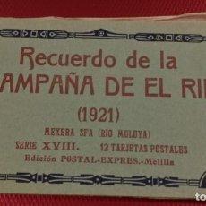 Postales: RECUERDO DE LA CAMPAÑA DEL RIF MEXERA SFA RIO MULAYA, SERIE XVIII, POSTAL EXPRESS MELILLA 9 POSTALES. Lote 166894896