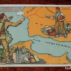 Postales: POSTAL DE PUBLICIDAD DE LA GUERRA DE AFRICA, LA CASA SAGUÉ Y MARÉS S/C. EN COLABORACIÓN CON INICIATI. Lote 169235388