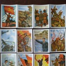Postales: COLECCIÓN DE 12 POSTALES, REPRODUCCIONES DE DIBUJOS SOBRE LA FALANGE ESPAÑOLA Y GUERRA CON MARRUECOS. Lote 170088456