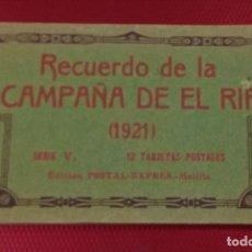 Postales: BLOCK RECUERDO DE LA CAMPAÑA DE EL RIF 1921 SERI V ATLATEN POSTAL EXPRES MELILLA 12 POSTALESCOMPLETA. Lote 170959209