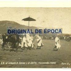 Postales: (PS-61243)POSTAL FOTOGRAFICA DE TETUAN-S.A.EL INFANTE D.CARLOS Y EL JALIFA,REVISANDO LAS TROPAS. Lote 171044229