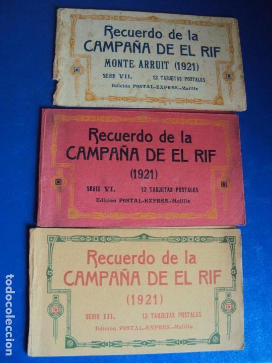 (PS-61406)LOTE DE 3 BLOCKS RECUERDO DE LA CAMPAÑA DE EL RIF MONTE ARRUIT 1921-SERIE III,VI Y VII (Postales - Postales Temáticas - Ex Colonias y Protectorado Español)
