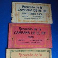 Postales: (PS-61406)LOTE DE 3 BLOCKS RECUERDO DE LA CAMPAÑA DE EL RIF MONTE ARRUIT 1921-SERIE III,VI Y VII. Lote 171243517