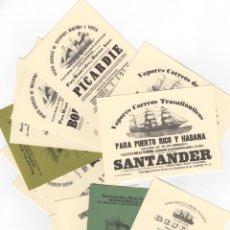 Postales: 12 POSTALES BARCOS TRAVESÍA DEL ATLANTICO SIGLO XIX PARA EMIGRANTES. Lote 172388697