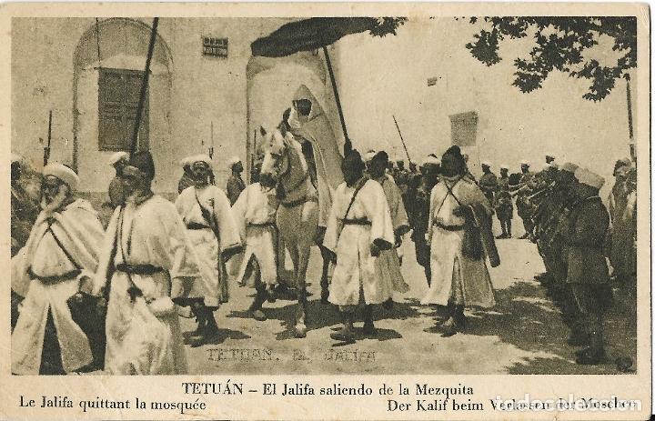 TETUÁN, S.A. EL JALIFA SALIENDO DE LA MEZQUITA - HUECOGRABADO SM, EDITOR M. ARRIBAS Nº 24 - S/C (Postales - Postales Temáticas - Ex Colonias y Protectorado Español)