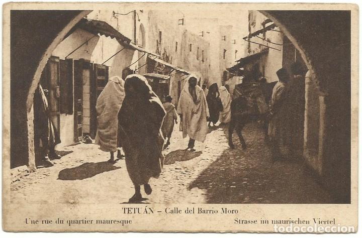 TETUÁN CALLE DEL BARRIO MORO M. ARRIBAS 1939 CIRCULADA (Postales - Postales Temáticas - Ex Colonias y Protectorado Español)