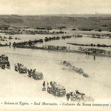 Postales: SCÈNES ET TYPES DU MAROC SUD MAROCAIN COLONNE DU SOUSS TRAVERSANT UN OUED. Lote 182958528