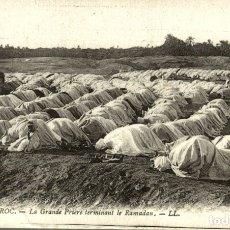 Postales: LA GRANDE PRIERE TERMINANT LE RAMADAM SCÈNES ET TYPES DU MAROC. Lote 182958578