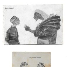 Postales: 9 POSTALES SATIRICAS SOBRE PERSONAJES DE MARRUECOS CARICATURAS. Lote 192951813