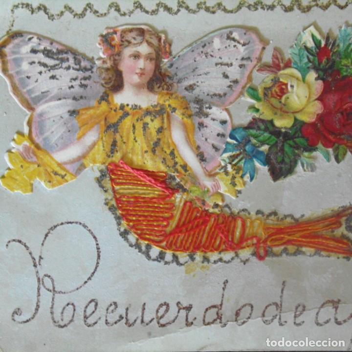 Postales: Postal con cromo. Una obra de arte. Souvenir de África. - Foto 2 - 207122408