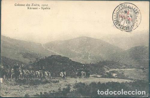 POSTAL COLONNE DES ZAERS 1910 KERASSI SPAHIS SELLO FRANCES SOBRECARGA ESPAÑOLA MARRUECOS (Postales - Postales Temáticas - Ex Colonias y Protectorado Español)