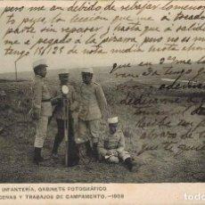 Postales: ACADEMIA DE INFANTERÍA, GABINETE FOTOGRÁFICO. ESCENAS Y TRABAJOS DE CAMPAMENTO, AÑO 1908. CIRCULADA. Lote 218338781