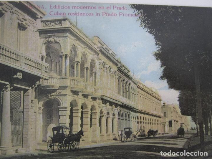 Postales: Antigua Postal Publicitaría - Habana, Edificios Modernos en el Prado - Tabacos - República de Cuba - Foto 2 - 219359132