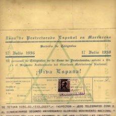 Postales: ZONA PROTECTORADO ESPAÑOL EN MARRUECOS. 1938 TELEGRAMA. PERSONAL DE TELÉGRAFOS. SELLO PROTECTORADO. Lote 223950058