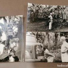 Postales: LOTE 3 FOTOS ANTIGUAS DE LA GUINEA ESPAÑOLA. VISITA A LAS PLANTACIONES. Lote 226839785