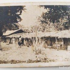 "Postales: POSTAL GUINEA ESPAÑOLA. CHOZAS INDÍGENAS. ESCRITA ""CASAS DE MORENOS DE BATA"". 1940/1950. Lote 232702965"