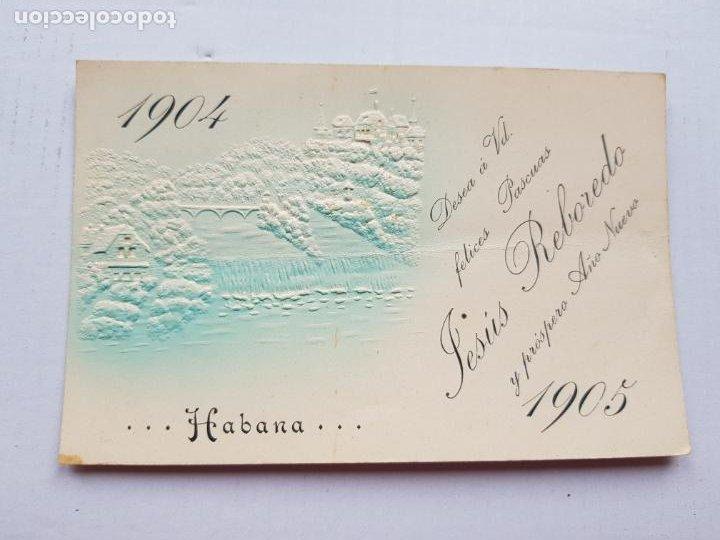 Postales: LA HABANA 1904-1905 SIN DIVIDIR RELIEVES FELICITACION NAVIDAD - Foto 2 - 234399510