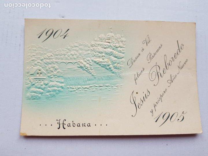 LA HABANA 1904-1905 SIN DIVIDIR RELIEVES FELICITACION NAVIDAD (Postales - Postales Temáticas - Ex Colonias y Protectorado Español)