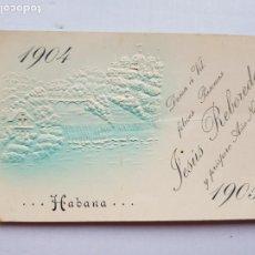 Postales: LA HABANA 1904-1905 SIN DIVIDIR RELIEVES FELICITACION NAVIDAD. Lote 234399510
