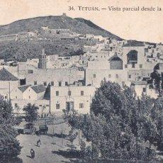 Postales: NARRUECOS, TETUAN, VISTA DESDE LA PLAZA ESPAÑA. ED. ARRIBAS ZARAGOZA Nº 34. ESCRITA EN 1928. Lote 245469075