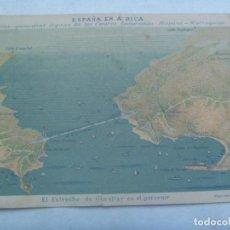 Postales: POSTAL DE ESPAÑA EN AFRICA : EL ESTRECHO DE GIBRALTAR EN EL PORVENIR. PRINCIPIOS DE SIGLO. ROTA !!!. Lote 245649195