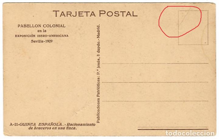 Postales: GUINEA ESPAÑOLA Nº A-21 / RACIONAMIENTO DE BRACEROS / EDICIONES PUBLICACIONES PATRIOTICAS - Foto 3 - 253671450
