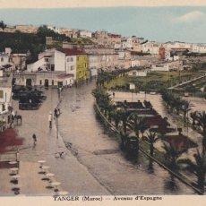 Postales: MARRUECOS, TANGER AVENUE D'ESPAGNE. ED.LEBRUN FRERES FOTO COMBIER MACON. SIN CIRCULAR. Lote 277629518