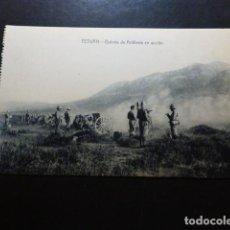 Postales: TETUÁN MARRUECOS ESPAÑOL BATERÍA DE ARTILLERÍA EN ACCIÓN. Lote 287228353