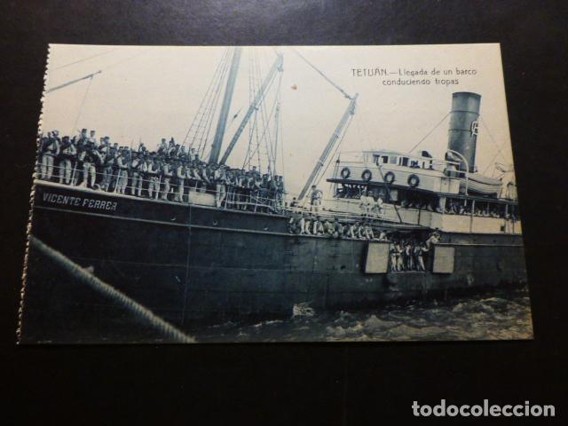 TETUÁN MARRUECOS ESPAÑOL LLEGADA BARCO CON TROPAS (Postales - Postales Temáticas - Ex Colonias y Protectorado Español)
