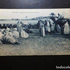 Postales: TETUÁN MARRUECOS ESPAÑOL LLEGADA DE UNA CARAVANA DEL SUR. Lote 287228668