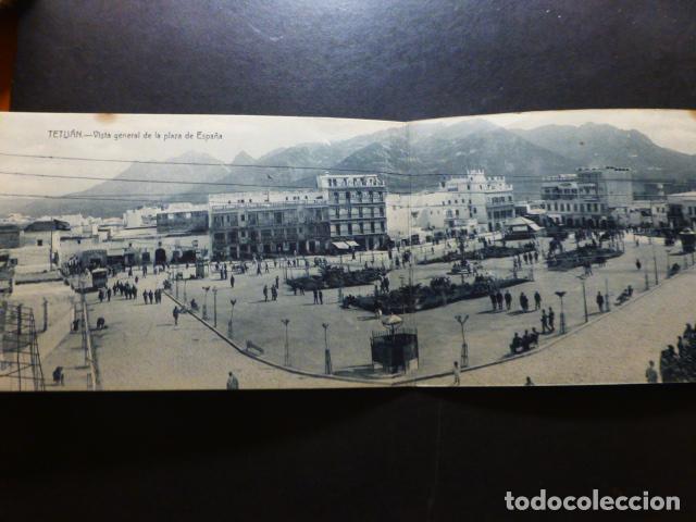 TETUÁN MARRUECOS ESPAÑOL VISTA PLAZA DE ESPAÑA POSTAL DOBLE (Postales - Postales Temáticas - Ex Colonias y Protectorado Español)