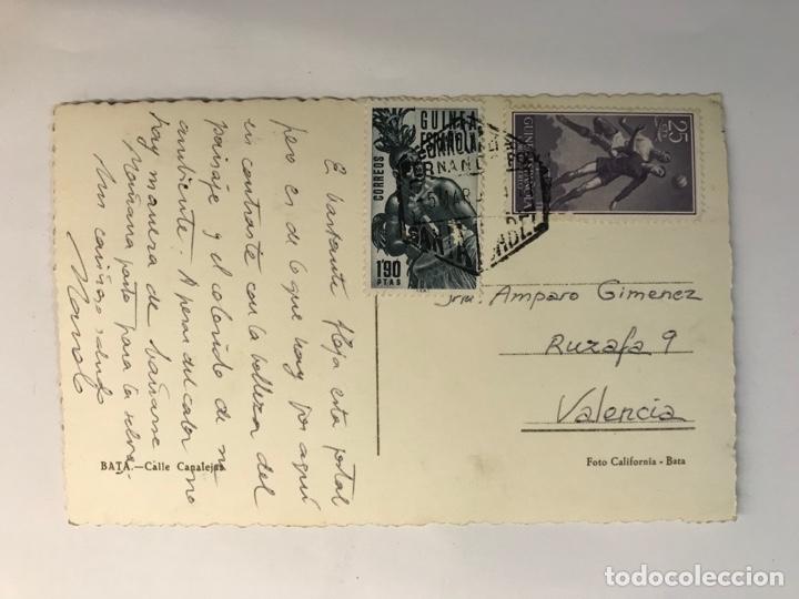 Postales: BATA, Guinea Española.. Postal Animada, Calle Canalejas.. Foto California, Bata. (a.1954) Círculada - Foto 2 - 287471993