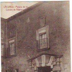 Postales: CÁCERES. PALACIO DE LOS CONDES DE ADANERO. Lote 26651866