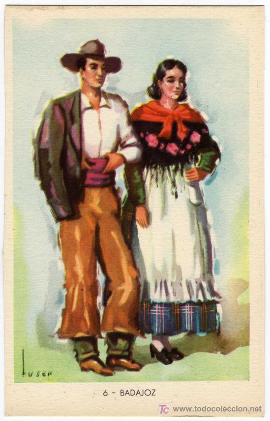 BONITA POSTAL - BADAJOZ - PAREJA CON TRAJE REGIONAL (Postales - España - Extremadura Antigua (hasta 1939))