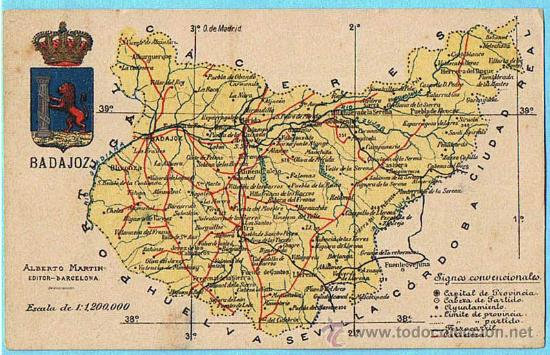 MAPA CON ESCUDO DE LA PROVINCIA DE BADAJOZ. ALBERTO MARTIN EDITOR. BARCELONA. (Postales - España - Extremadura Antigua (hasta 1939))