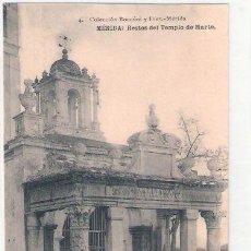 Postales: TARJETA POSTAL. MERIDA. CACERES. TEMPLO DE MARTE. Nº 4. COLECCION BOCCONI Y DIEZ. HAUSER Y MENET.. Lote 26507253
