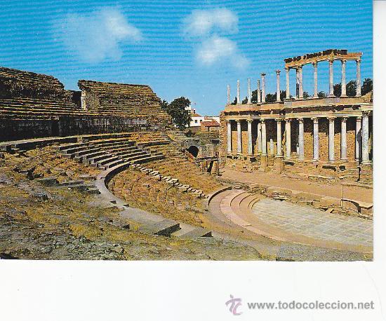 VISTA PARCIAL DEL TEATRO ROMANO DE MERIDA (BADAJOZ). BONITA POSTAL DE EDICIONES ARRIBAS SIN CIRCULAR (Postales - España - Extremadura Moderna (desde 1940))