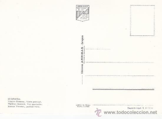 Postales: VISTA PARCIAL DEL TEATRO ROMANO DE MERIDA (BADAJOZ). BONITA POSTAL DE EDICIONES ARRIBAS SIN CIRCULAR - Foto 2 - 29676145