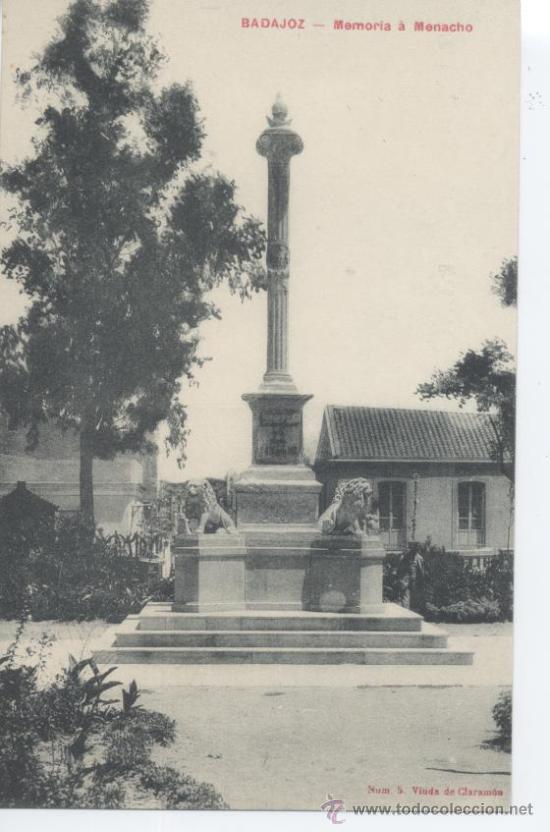 BADAJOZ. MEMORIA Á MENACHO. VIUDA DE CLARAMÓN Nº 5. SIN CIRCULAR. (Postales - España - Extremadura Antigua (hasta 1939))