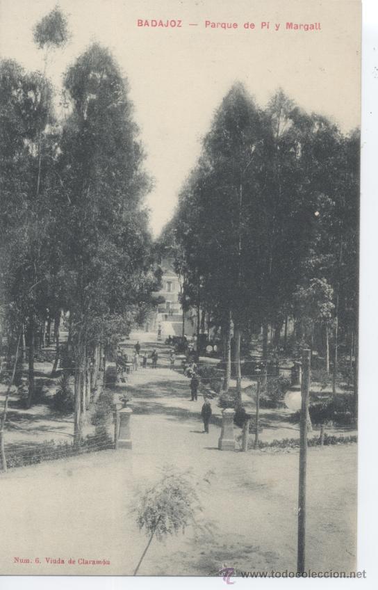 BADAJOZ. PARQUE DE PI Y MARGALL. VIUDA DE CLARAMÓN Nº 6. SIN CIRCULAR. (Postales - España - Extremadura Antigua (hasta 1939))
