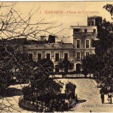 Postales: BONITA POSTAL - BADAJOZ - PLAZA DE CERVANTES - AMBIENTADA. Lote 36032403