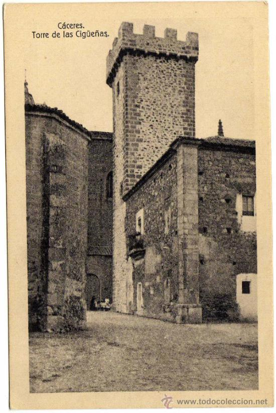 BONITA POSTAL - CACERES - TORRE DE LAS CIGÜEÑAS (Postales - España - Extremadura Antigua (hasta 1939))
