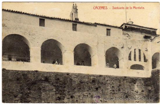 INTERESANTE POSTAL - CACERES - SANTUARIO DE LA MONTAÑA - AMBIENTADA (Postales - España - Extremadura Antigua (hasta 1939))