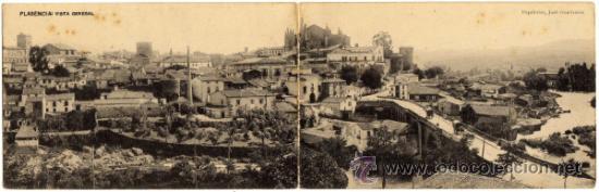 BONITA POSTAL DOBLE - PLASENCIA (CACERES) - VISTA GENERAL - PAPELERÍA, JOSÉ HONTIVEROS (Postales - España - Extremadura Antigua (hasta 1939))