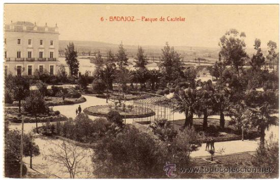 BONITA POSTAL - BADAJOZ - PARQUE DE CASTELAR - AMBIENTADA (Postales - España - Extremadura Antigua (hasta 1939))