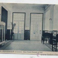 Postales: BAÑOS DE MONTEMAYOR. GRAN HOTEL.ENTRADA AL HALL. FRANQUEADO Y FECHADO EN 1944 EN. Lote 36497656