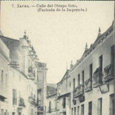 Postales: ZAFRA (BADAJOZ).- CALLE DEL OBISPO SOTO (FACHADA DE LA IMPRENTA). Lote 37341943