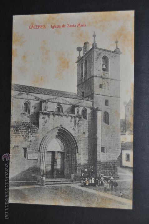 ANTIGUA POSTAL DE CACERES. EXTREMADURA. IGLESIA DE SANTA MARIA. SIN CIRCULAR (Postales - España - Extremadura Antigua (hasta 1939))