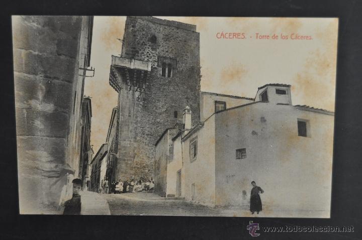 ANTIGUA POSTAL DE CACERES. EXTREMADURA. TORRE DE LOS CACERES. SIN CIRCULAR (Postales - España - Extremadura Antigua (hasta 1939))