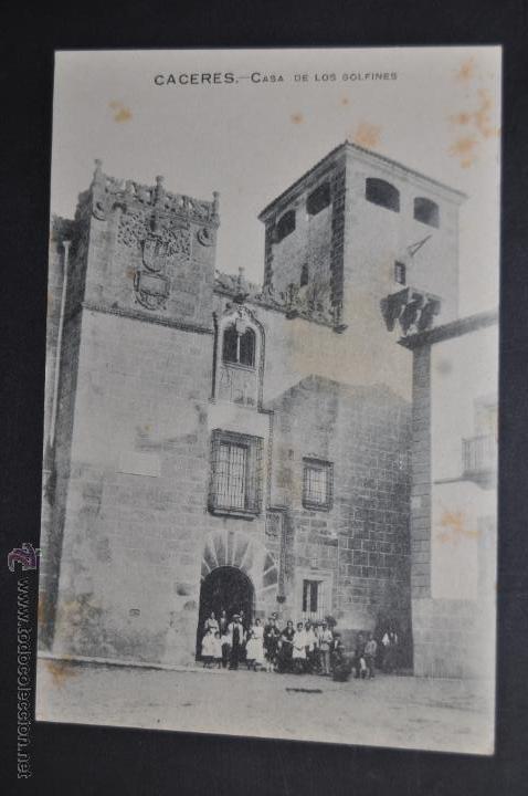 ANTIGUA POSTAL DE CACERES. EXTREMADURA. CASA DE LOS GOLFINES. SIN CIRCULAR (Postales - España - Extremadura Antigua (hasta 1939))